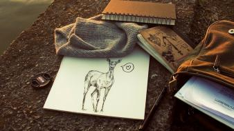 Deer books drawings pencils notebook note book wallpaper