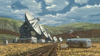 Fields hills radio ufo artwork vehicles satellite dish wallpaper