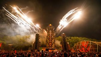 Fireworks party stage q-dance q-base 2012 wallpaper