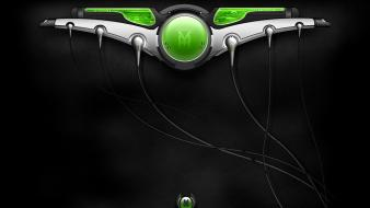 Green abstract graphic art wires wallpaper