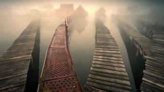 Houses fog bridges lakes wallpaper