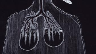 Illustrations artwork lungs surreal art wallpaper