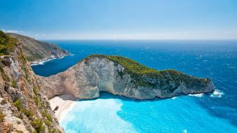 Landscapes cliffs greece zakynthos sea wallpaper