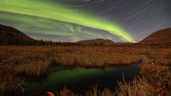 Landscapes nature aurora borealis yukon star trails wallpaper