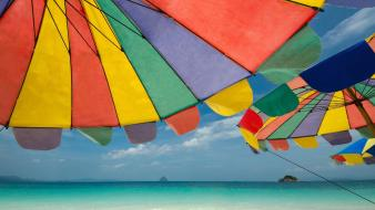 Landscapes nature beach thailand umbrellas wallpaper