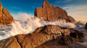 Landscapes nature waves rocks sea wallpaper