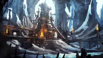 Lights buildings temples concept art artwork cavern wallpaper