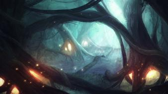 Lights forest mist fantasy art Wallpaper