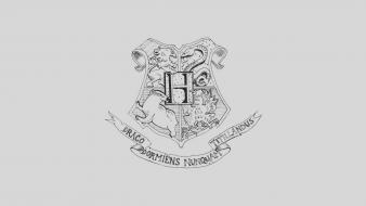 Minimalistic harry potter grayscale crests white background mascot Wallpaper