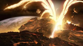 Moon spaceships digital art artwork eruption magma wallpaper