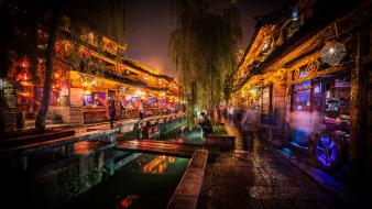 Night lights market asians canal wallpaper