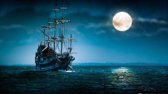 Ocean clouds night sail moon ships sailing wallpaper
