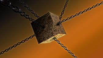 Orange cgi chains 3d cube wallpaper