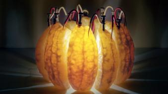 Orange fruits energy electricity battery long exposure wires wallpaper