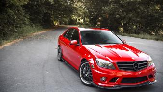 Red cars front mercedes benz c63 amg wallpaper
