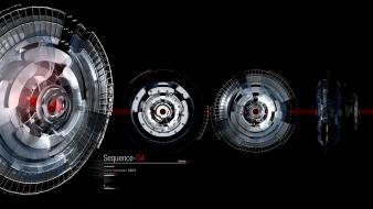 Red silver science fiction machinery wallpaper
