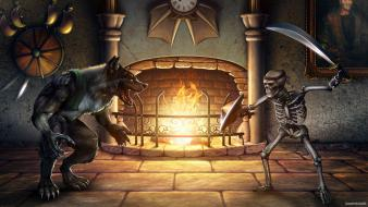 Retro fantasy art skeletons killer instinct werewolves wallpaper
