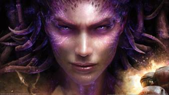 Sarah kerrigan of blades starcraft ii faces wallpaper