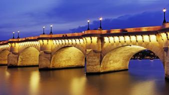 Street lights rivers evening arches pont neuf wallpaper