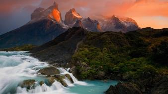 Sunset chile mountains clouds landscapes nature forests waterfalls wallpaper