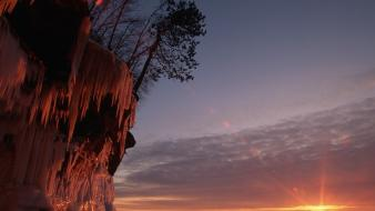Sunset nature wisconsin ice cave lake superior wallpaper