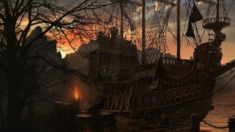 Sunset ships fantasy art crows wallpaper