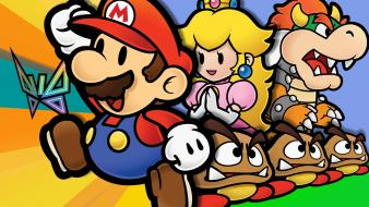Super mario bowser paper princess peach goomba wallpaper