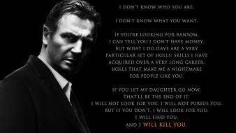 Text quotes liam neeson taken (movie) wallpaper