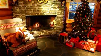 Trees christmas new year gifts fireplace wallpaper