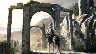 Video games mountains assassins creed ruins horses wallpaper