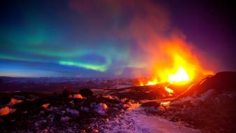 Volcanoes aurora borealis wallpaper