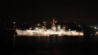 Water night lights military ships cities battleships wallpaper