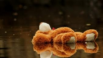 Water toys (children) stuffed animals teddy bears reflections wallpaper