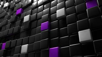 Abstract black shiny cubes digital art Wallpaper