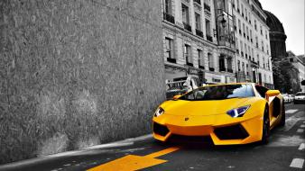 Black and white cars lamborghini roads aventador yellow wallpaper
