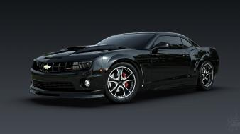 Black cars chevrolet tuning rendering camaro evil wallpaper