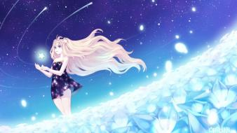 Blondes flowers long hair seeu Wallpaper