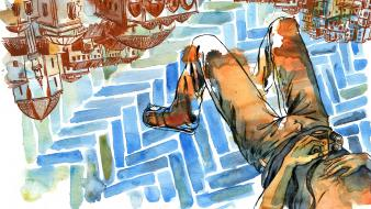 Cameras lying down artwork sandals upside watercolor wallpaper