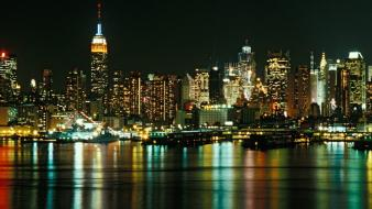 Cityscapes new york city skyline jersey reflections cities wallpaper