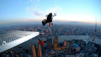 Cityscapes sports shanghai base jumping wallpaper