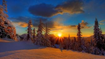 Clouds landscapes nature winter snow trees wallpaper