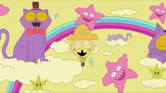 Clouds stars cats rainbows superjail balloons wallpaper