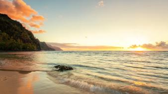 Coast sun beach waves hawaii usa sea wallpaper