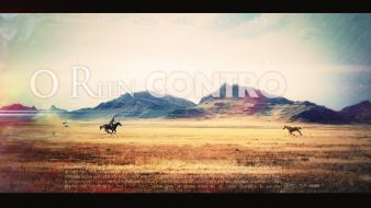 Cowboys film horses posters montage photomanipulation corrida wallpaper