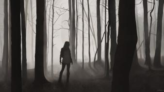 Dark forest silhouette mist monochrome artwork desktopography Wallpaper
