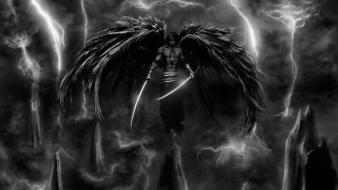 Dark storm weapons artwork warriors angel wallpaper