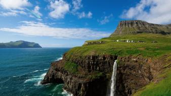 Europe villages waterfalls faroe islands gasadalur village wallpaper