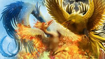 Fighting fire zapdos lightning articuno moltress birds wallpaper