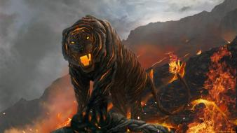 Fire tigers lava fantasy art creatures digital wallpaper