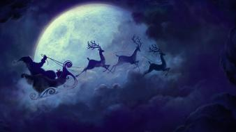 Flying moon christmas santa claus reindeer wallpaper